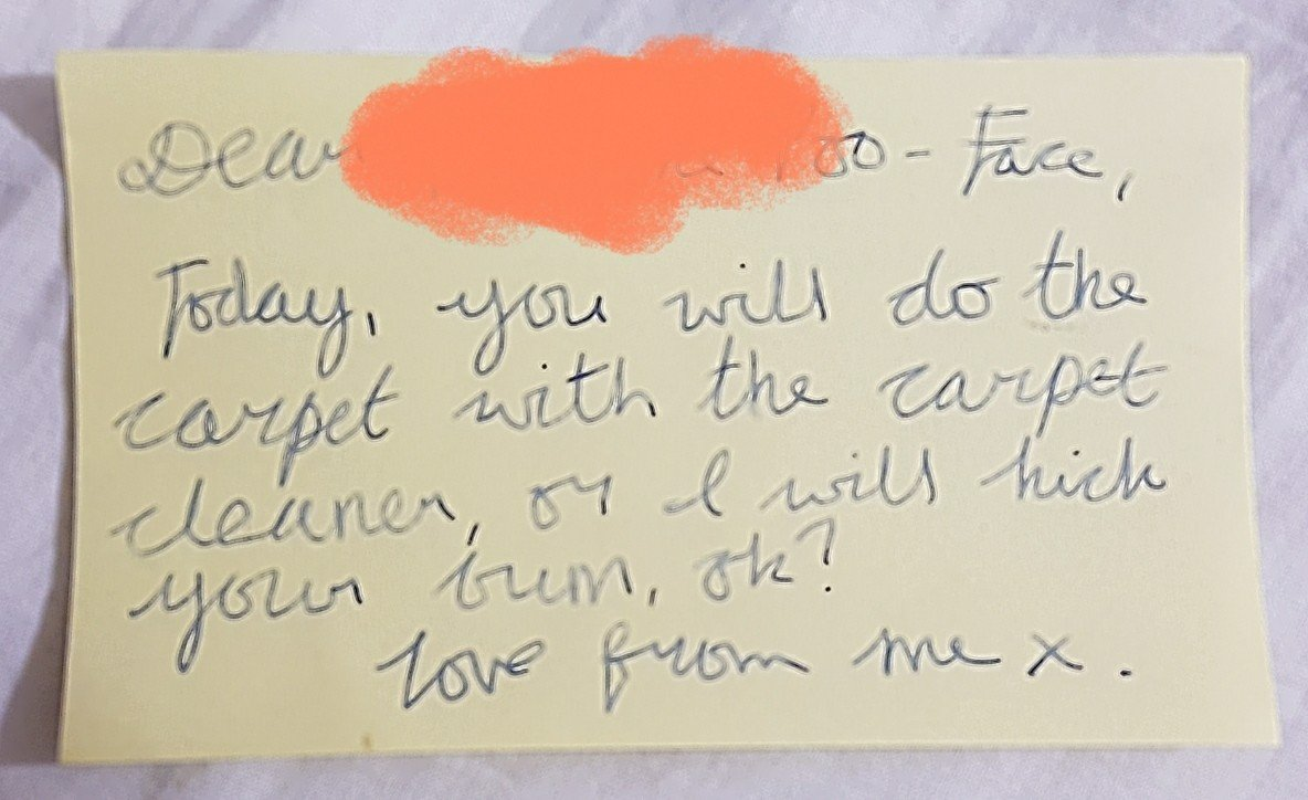 """""""Dear, Today, you will do the carpet with the carpet cleaner, or I will kick your bum, ok? Love from X"""